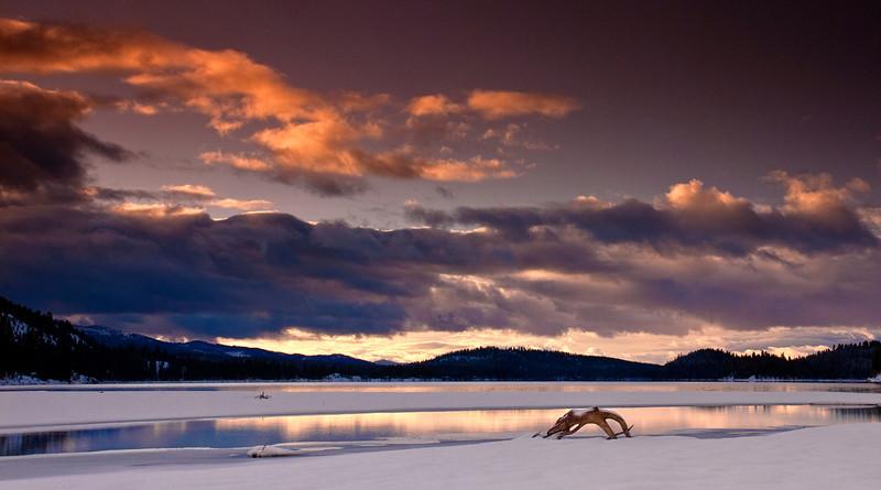 Dramatic sunrise over Payette Lake Idaho