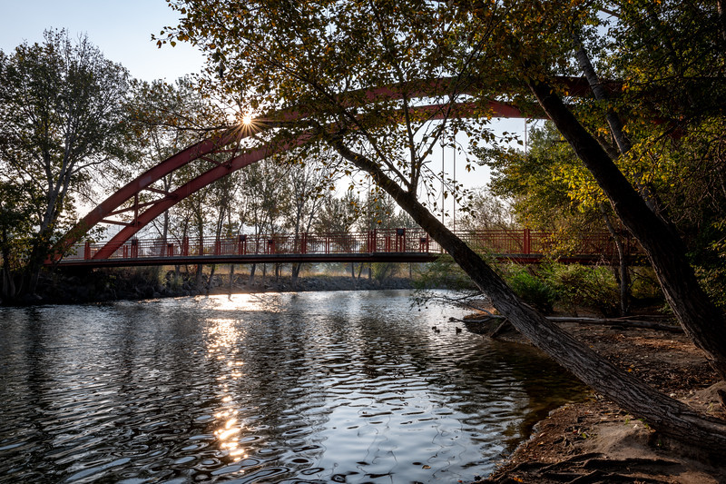 Boise River red bridge and sunburst