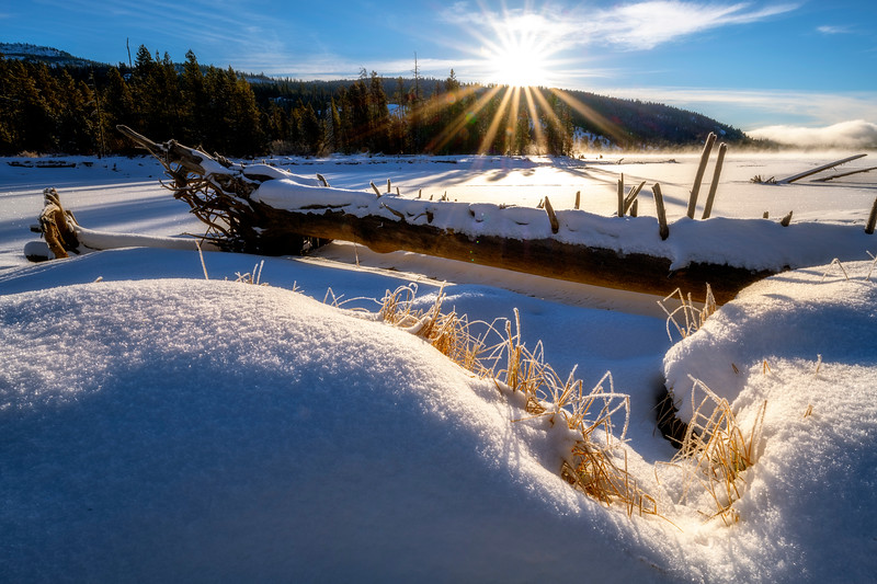 North shore of the Payette Lake sunrise over the banks
