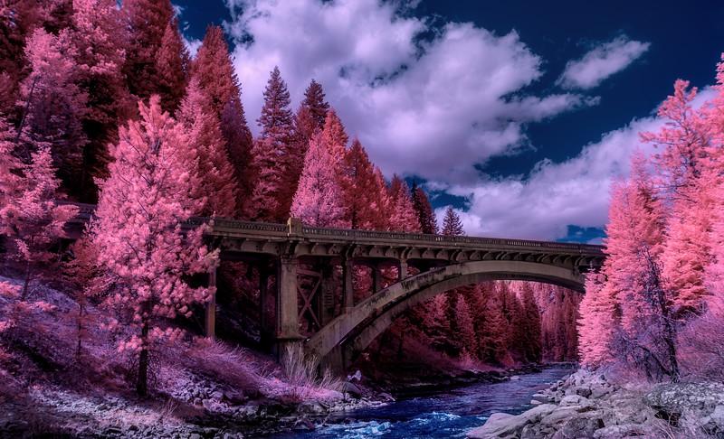 Famous Rainbow Bridge on Highway 55 in Idaho using Infrared