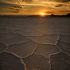 Warm colors of sunset over the salt patterns ov Bonnevelle