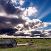 Dramatic evening sky over rolling hills near McCall