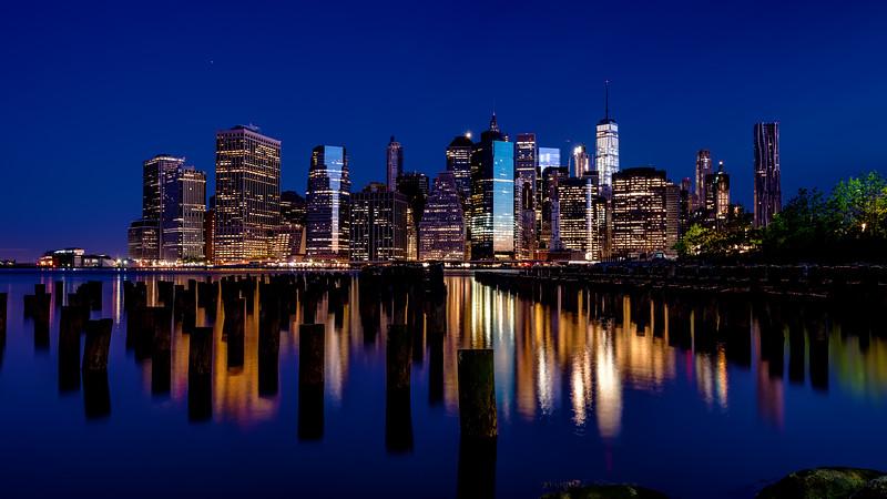 New York skyline blue hour