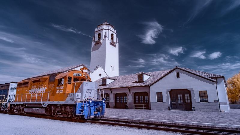 Train pass the Depot at high noon