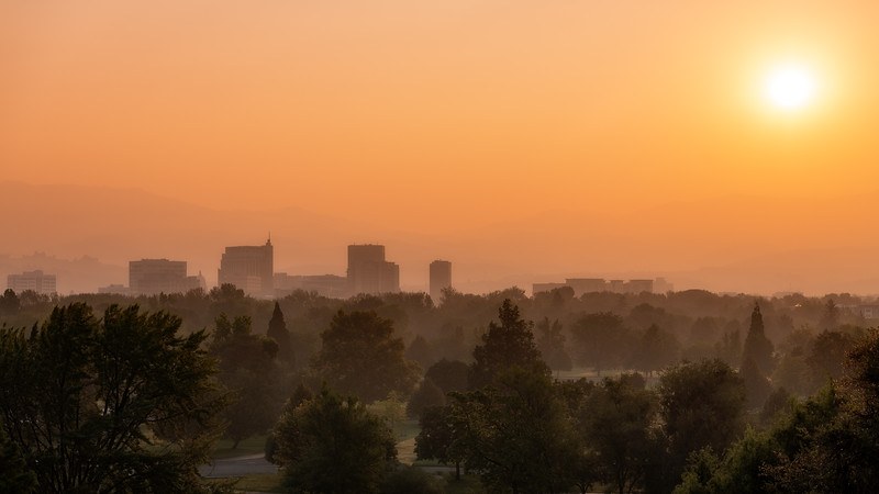 Boise skyline with a lot of smoke in the air