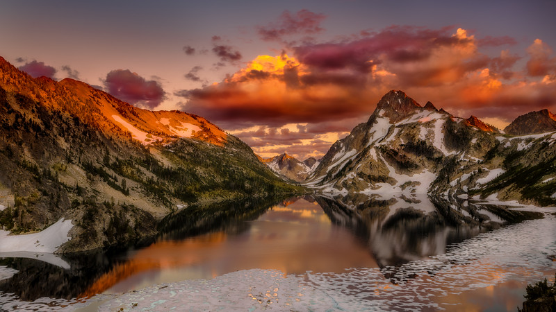 Sunset on Sawtooth Lake with Ice and snow late July