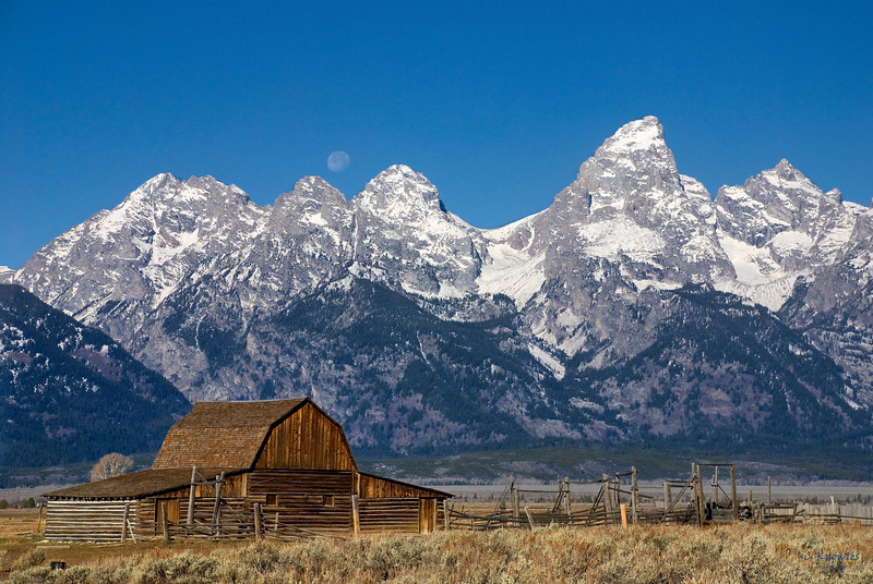 Teton Barn and Moon Wyoming