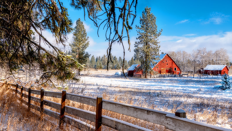 Red barn on a farm winter Idaho
