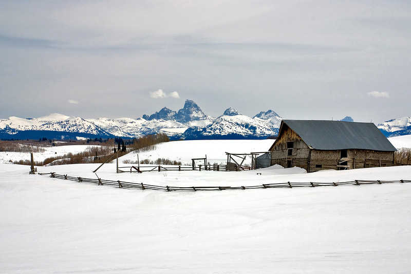 Winter Barn and Tetons Idaho
