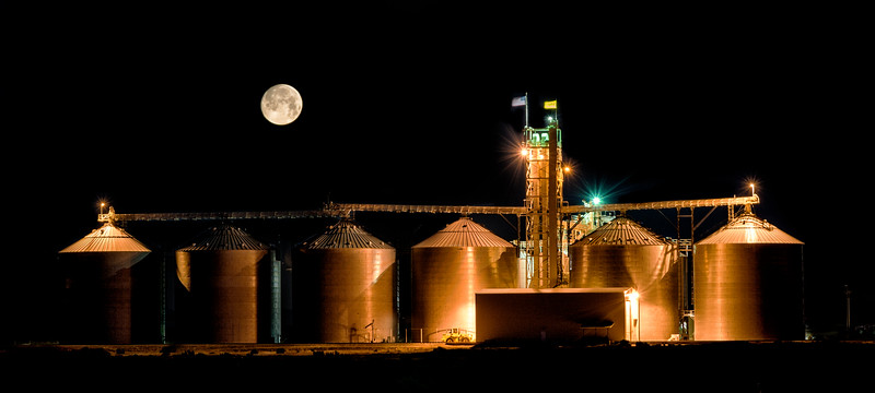 Grain Silos in southern Idaho with full moon