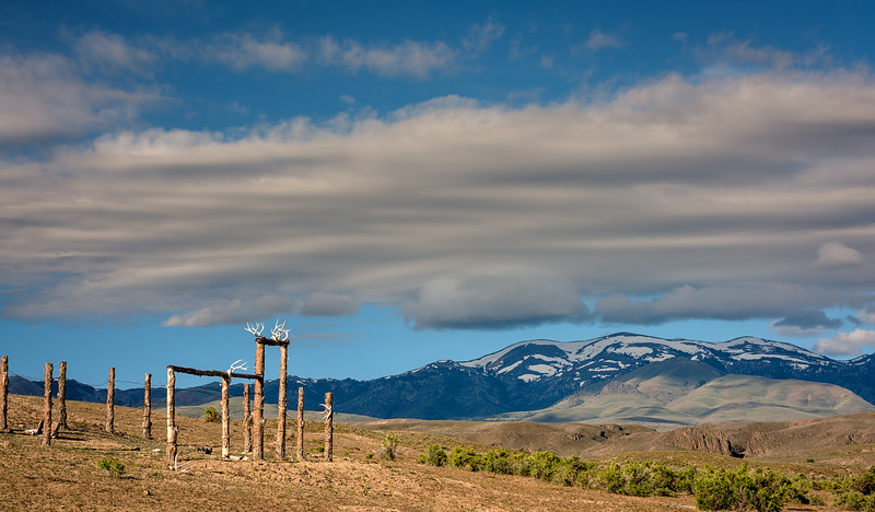 Corral with antlers on it and Owyhee Mountains