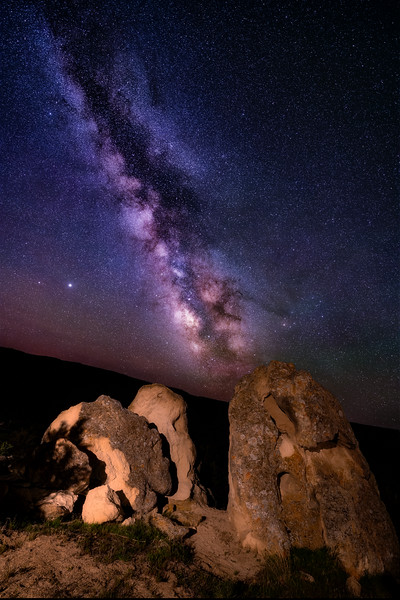 Desert Night Photography of Oolite bolder near Grandview Idaho