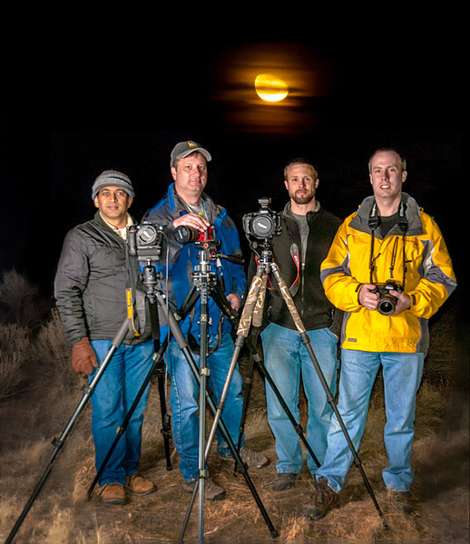 The night shift crew at Pillars of Rome Oregon<br /> These are the 4 of use that were up late taking star trail shots in Rome, From Left to right, Vishwanath, Me, Dave, and Dylan.