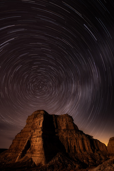 Star trails over a single Pillar at Pillars of Rome