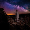 Cemetery night Grandview tomb stone against the night sky with Milky Way