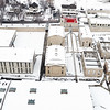 Idaho old Penitentiary aerial view with snow covered ground in winter