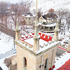 Castle architecture type turret and classic old fashion style home in winter