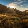 Sunrise over the rocky ridgeline in Leslie Gulch Oregon