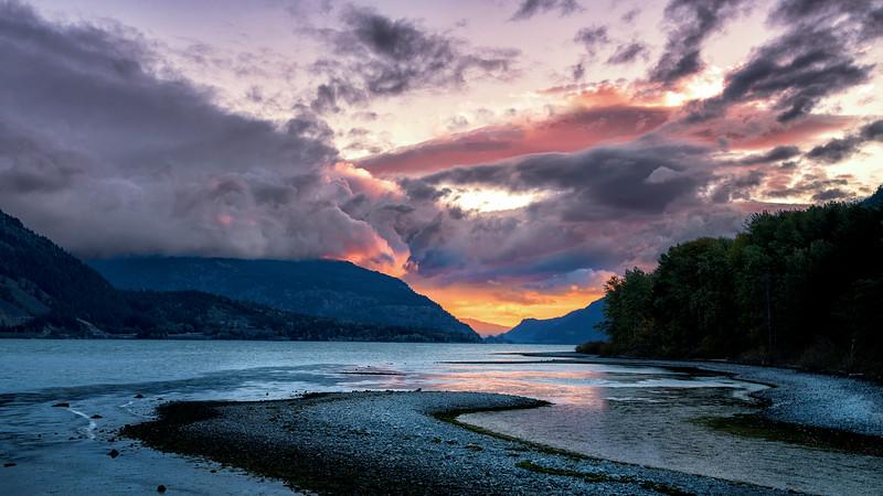 Orange Sunrise Reflection in the Columbia River, Oregon