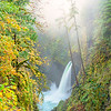Metlako Falls and sun lit fog