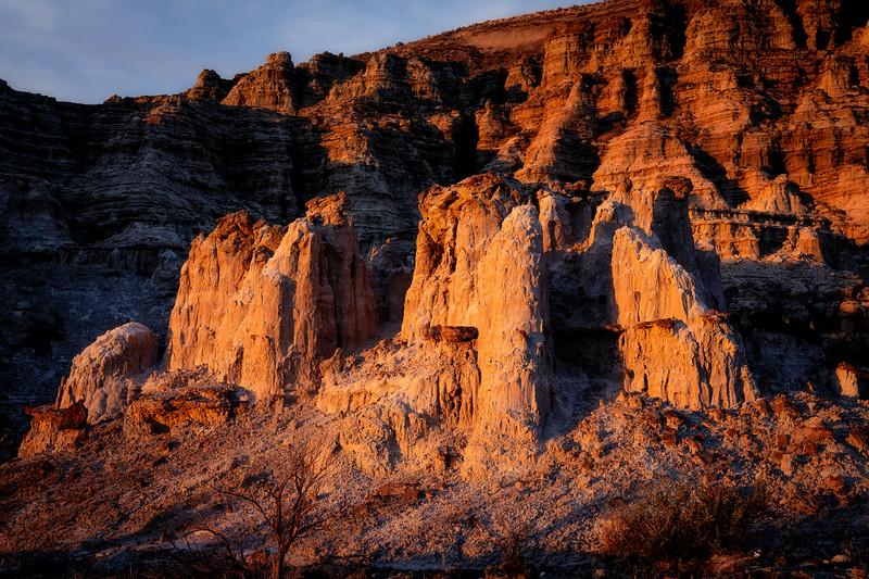 Dramatis light falls on columns of rock pillars near Rome Oregon
