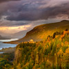Vista house and the Columbia river sunset