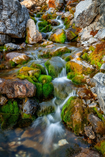 Beautiful little stream forms mini waterfalls as it goes through rocks