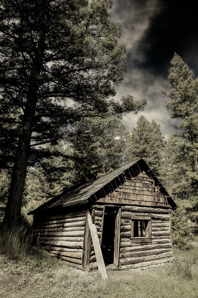 Rustic old prospectors cabin in the remote mountains of Idaho