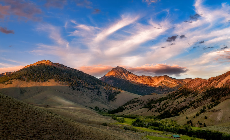 May Mountain in the Lemhi Range at sunset with airstrip building
