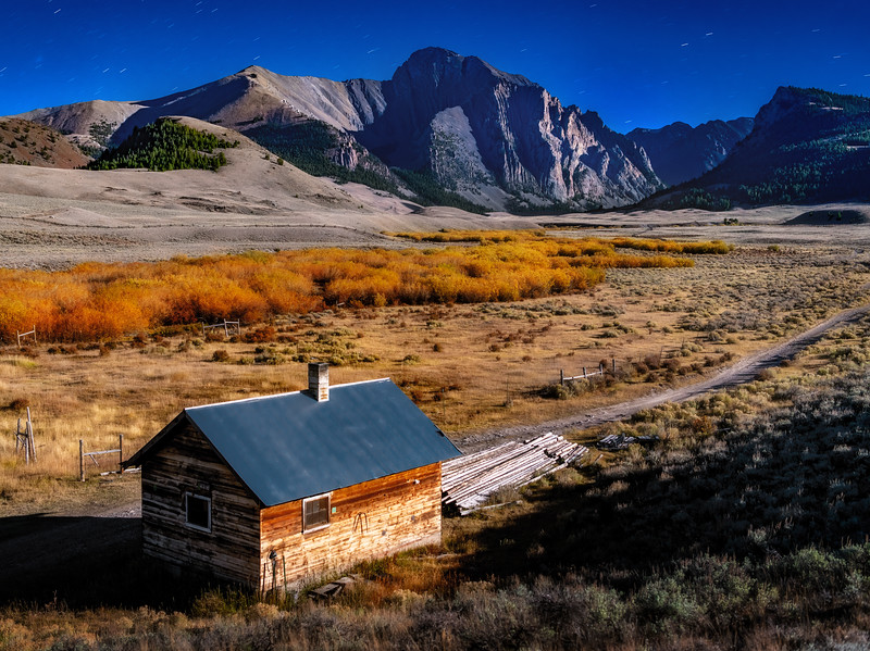 East Fork of the Pahsimeroi and cabin night with stars