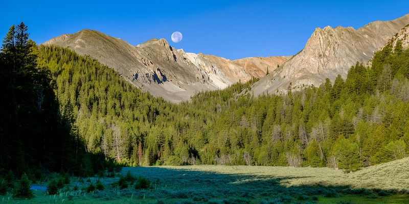 Full moon over mountains in the Lost River Range near Double Springs Pass