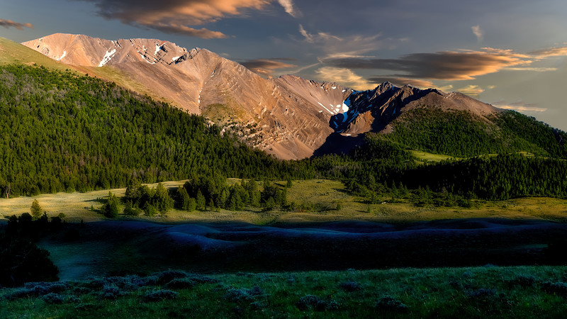 Rocky mountain peak in the Lost river range at sunset
