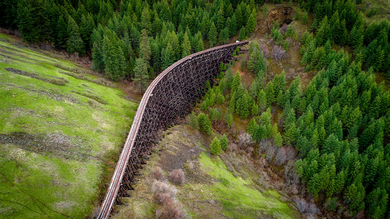Half moon train trestle and Idaho forest