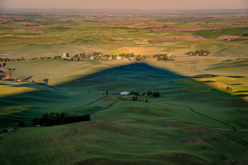 Unique view of Steptoe butte shadow and town