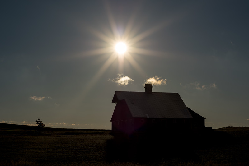 silhouette of an Idaho Barn in the late evening