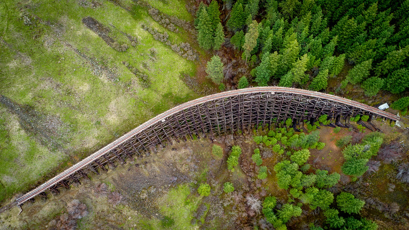 Overhead view of an antique train trestle