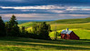 Red Barn sunrise Palouse rolling hills