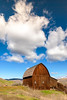 Lapwai Barn with puffy cloud