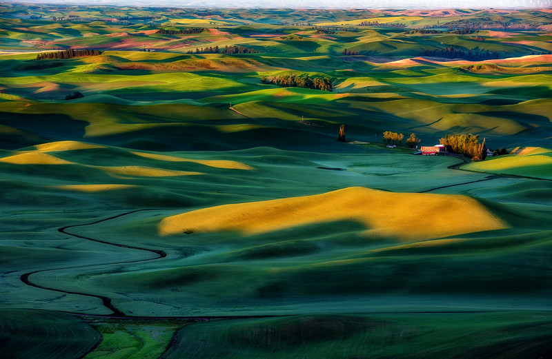 Sunrise in the rolling hills of the Palouse