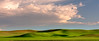 Rolling hills of a farmers crops and dramatic clouds