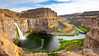 Palouse Falls in Washington state in the summer in late evening shadows