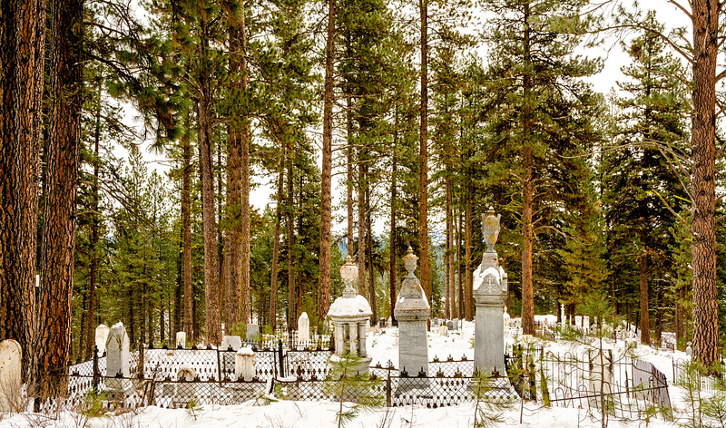 Tombstonce of a Cenetery in an Idaho forest