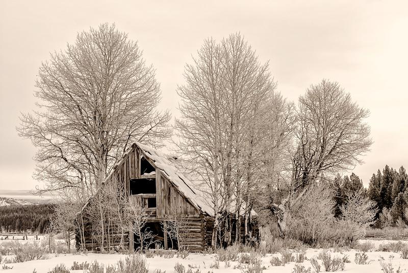 Cabin near Placerville Idaho winter
