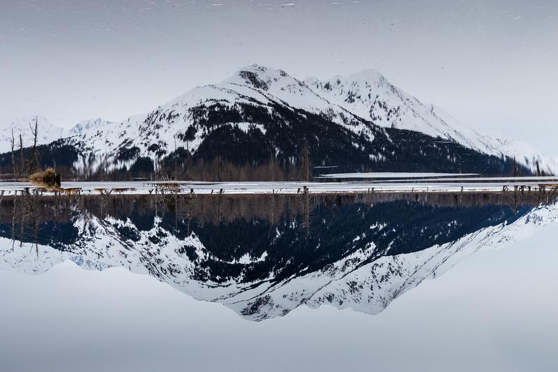 A reflection along the Seward Highway, Alaska.