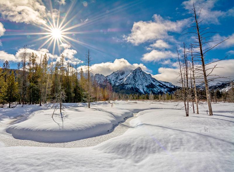 Stanley Lake inlet winter sunstar
