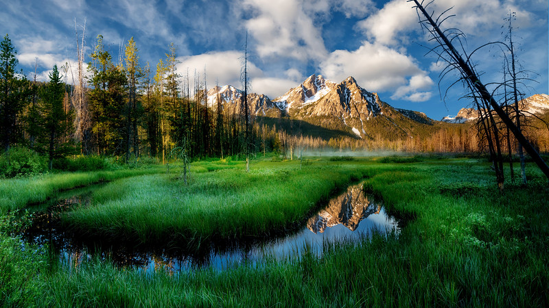 Stanley Lake marsh in the morning with McGown peak reflection