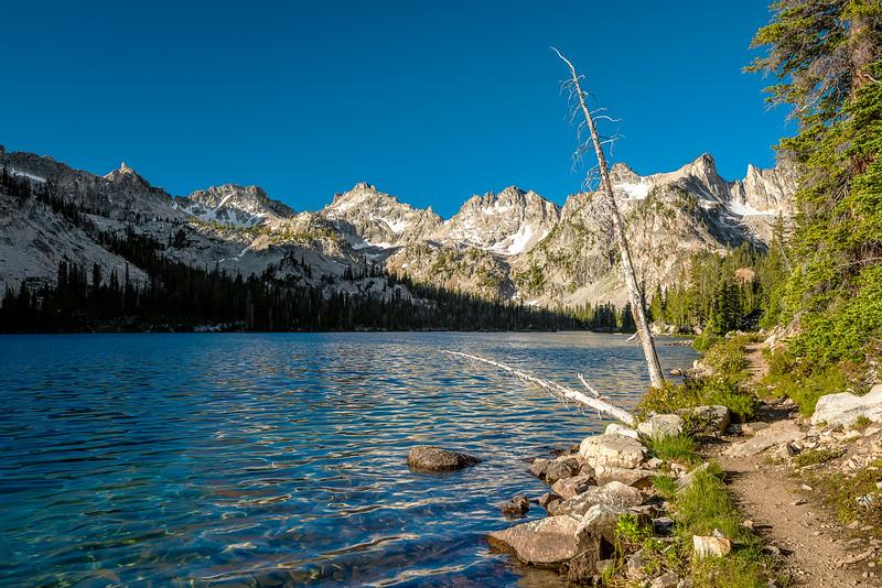 Mountain lake and hiking trail
