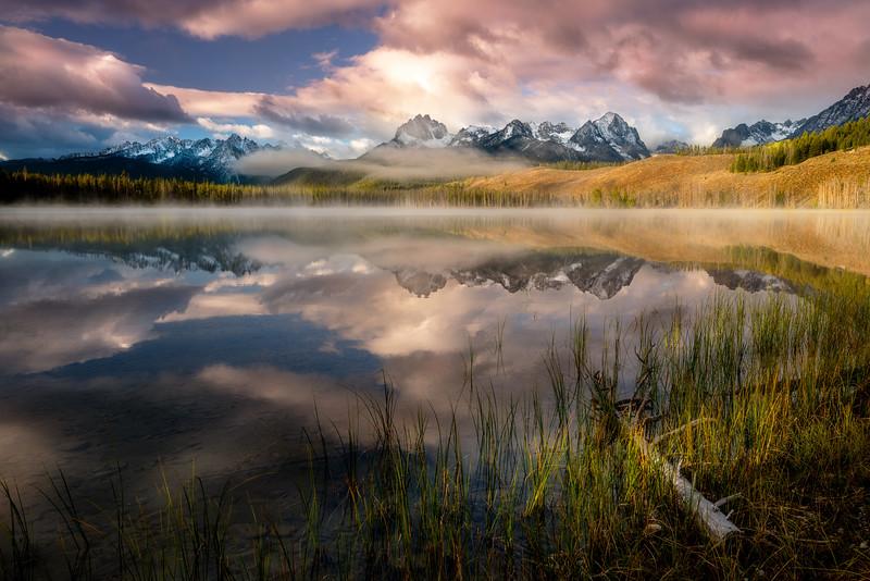 Dramatic sunrise over Little Redfish Lake Idaho