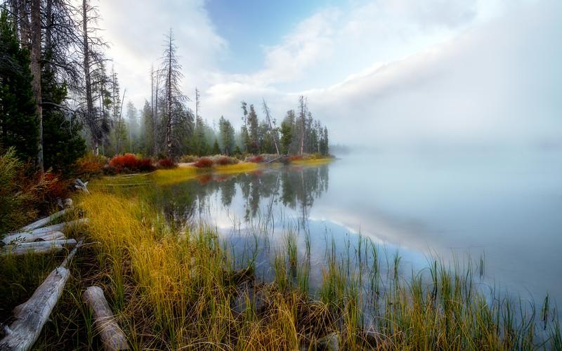 Fog morning sunrise and Little Redfish Lake shoreline