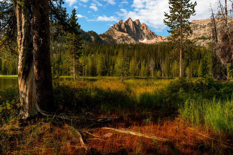 Bench lake with Mount Heyburn in the Sawtooth mountains of Idaho